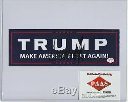 Autographe Du Président Donald Trump Autograph Maga Avec La Main De L'aco Signée