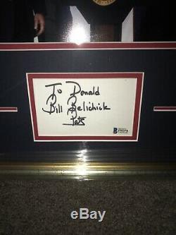 Bill Belichick Signé Cut Président Donald Trump Personnalisée Avec Cadre Automatique Bas Coa 1/1