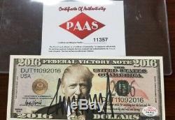Billet D'un Dollar Signé Par Donald Trump Autographié Paas Authentifié Avec Hologramme