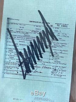 Certificat De Naissance De Barack Obama Signé Par Donald Trump, Beckett Certifié, Rare