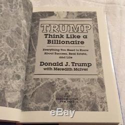 Copie Authentique Signée Autograph Président Américain Atout Donald Pense Comme Billionaire
