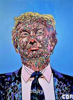 Corbellic Art Grand Donald Trump Canvas Wall Art, Grand, Museum Signed Coa, Etats-unis