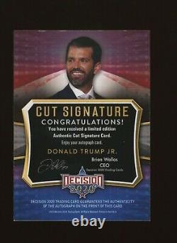 Décision 2020 Série 2 Donald Trump Jr Authentic Cut Signature Autographe Autographe