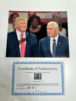 Dédicacée Président Donald Trump Et Mike Pence Photo 8x10 Avec Coa