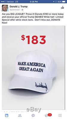 Donald J. Trump 2016 Signé Make America Great Encore Une Fois Blanc Casquette De Baseball