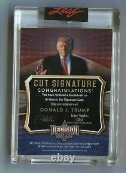 Donald J Trump 2020 Leaf Decision Blue Foil Cut Signature Signé Auto #2/5 Maga