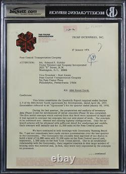 Donald J. Trump A Signé 8x10.5 1976 60th St Rail Yard Letter Auto 9! Bas Slabbed
