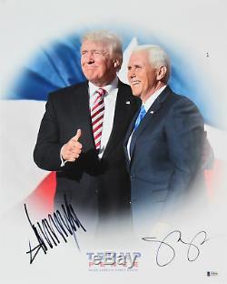 Donald J. Trump & Mike Pence Authentique Photo 16x20 Signée Bas # A78555