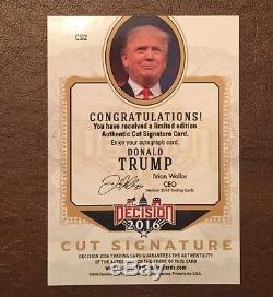 Donald Trump 2016 Autographe Coupé Signature Signature Décision Feuille Bleu Très Rare