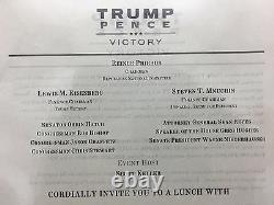 Donald Trump 9/1/2016 Invitation Trump Pence Victory Autograph Avec Provenance