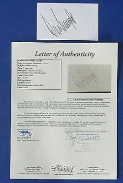 Donald Trump A Signé 3x5 Index Card President Of The United States Jsa Bb39397