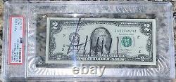 Donald Trump A Signé Autographié $2 Two Dollar Bill Psa Slabbed/encapsulated