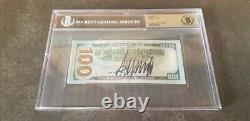Donald Trump A Signé Encapsulé 100 $ Bill Beckett Certifié Authentique