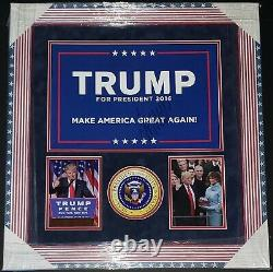 Donald Trump A Signé La Campagne Présidentielle De 2016 Maga Signe Personnalisé Encadré Psa / Adn