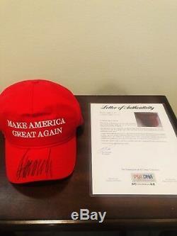 Donald Trump A Signé Les États-unis Fait Cali-fame De Chapeau Maga Rouge Psa / Adn Coa Extrêmement Rare