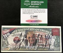 Donald Trump A Signé Une Note De Campagne Sgc Coa Auto Autograph