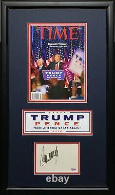 Donald Trump A Signé /encadré Carte D'index Avec Time Magazine Psa Aa47076