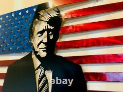 Donald Trump American Portrait Drapeau Métal Art Steel Sign Accueil Décor 24x13.5