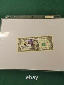 Donald Trump Authentique Signé Autographe Us $1 Dollar Bill Potus Avec Coa