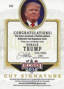 Donald Trump Autographed 2016 Décision Décision Série 1 Carte Signature De Coupe Originale