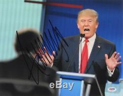 Donald Trump Autographié 11x14 Psa Adn Pleine Loa Signature Énorme 45e Président Des États-unis