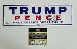 Donald Trump Autographié 2016 Campagne Autocollant Pour Voiture Withcoa Et Pièce De Collection