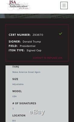 Donald Trump Autographié Make America Great Encore Une Fois Maga Hat Jsa Assermentée Loa