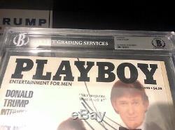 Donald Trump Autographié Playboy Magazine Bas Beckett Encapsulé Pleine Loa Rare