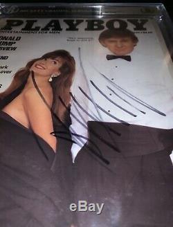 Donald Trump Autographié Signé 1990 Playboy Magazine Bas Beckett Encapsulé