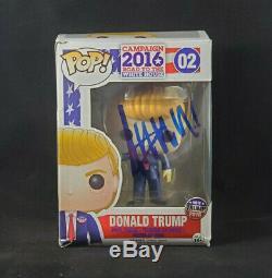 Donald Trump Autographié Signé Campagne 2016 # 2 Funko Pop! Avec Coa Endommagé Boîte