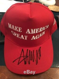 Donald Trump Autographié Signé Make America Great Red Hat Encore Une Fois Maga