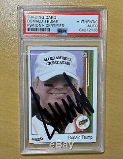Donald Trump Card Signé Président De Baseball Personnalisé Psa Coa Encapsulé