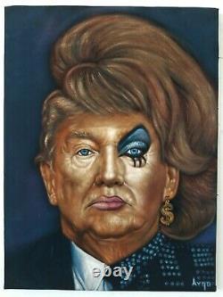 Donald Trump Dans Drag Dragrace Crossdress Original Oil Painting Black Velvet A387