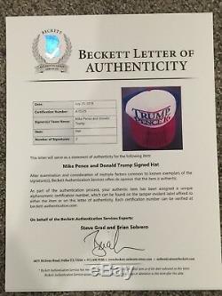 Donald Trump Et Mike Pence Dual - Chapeau Signé 2016 Beckett Coa Loa $$$