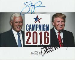 Donald Trump Et Mike Pence Ont Signé Photo Autographiée Avec Coa