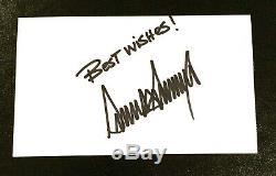 Donald Trump États-unis Président Vintage Signé 3x5 Card Index Autograph