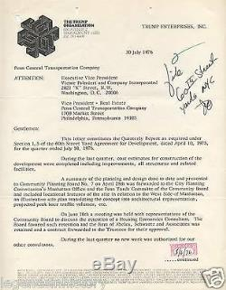 Donald Trump Lettre Autographiée Et Signée 60th Street Rail Yard 1976 Manhattan New York