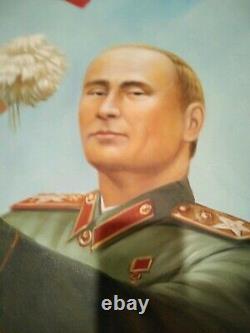 Donald Trump Peinture Avec Poutine Propagande Politique L'un D'un Genre Original
