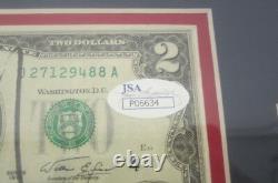 Donald Trump Potus Signé Autographié Deux Dollar Bill Framed Matted Jsa Coa