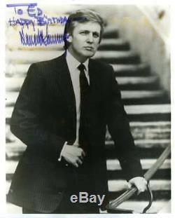 Donald Trump Psa Adn Loa Signée À La Main Vintage Photo 8x10 En Fait Réel Autograph