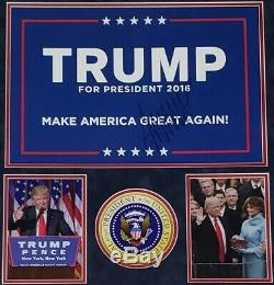 Donald Trump Signé Campagne Présidentielle 2016 Maga Signe Personnalisé Encadrée Psa / Adn