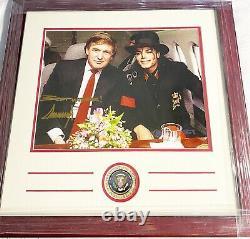 Donald Trump Signé Custom Framed 11x14 President Seal & Michael Jackson 1/1