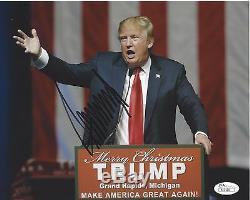 Donald Trump Signé Photo 8x10 Jsa Coa Construire Un Mur Amérique Grande Encore Une Fois A