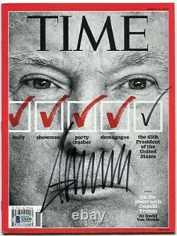 Donald Trump Signed Time Magazine Cover Beckett Authentic Full Letter Coa Rare