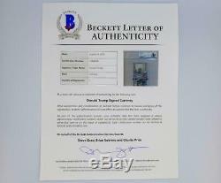 Donald Trump Signée À La Main 100 $ Cent Dollar Bill Bas Beckett Authentification