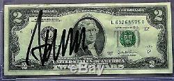 Donald Trump Signée À La Main Deux Crisp Dollar ($ 2.00) Bill- Psa / Adn Assermentée