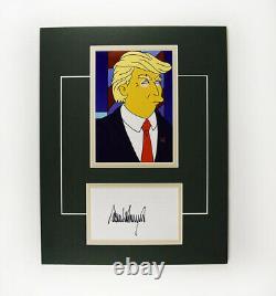 Donald Trump Simpsons Signé Autographié Matted Index Card Et Photo Coa Loa
