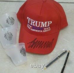 Donald Trump Trump Signé Brodé Keep America Grand Chapeau + Atout Masque
