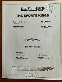 George Steinbrenner A Signé Programme De L'événement 1983 (panneau Avec Donald Trump!)