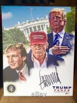 Gigantesque! Donald Trump Signed Toile 16x20 Bas Beckett Loa Non Psa Jsa Auto 1 Sur 1